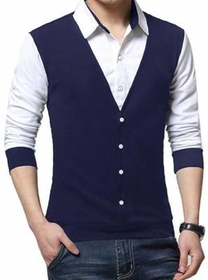 BULLMER Striped Men Polo Neck Dark Blue T-Shirt