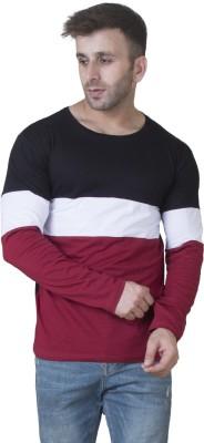 Veirdo Striped Men Round Neck White, Maroon, Black T Shirt