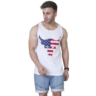 Veirdo Printed Men Round Neck White T Shirt