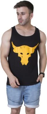 Veirdo Printed Men Round Neck Black, Yellow T Shirt