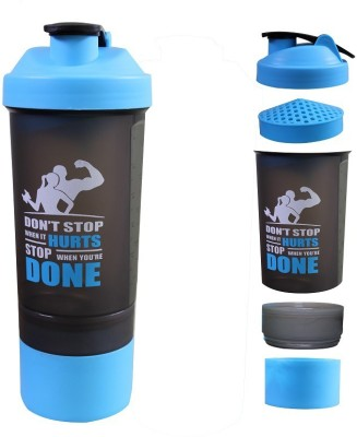 WHITEIBIS Protein Shaker Bottle for gym with 2 Storage Extra Compartment 750 ml Shaker 750 ml Shaker(Pack of 1, Blue)