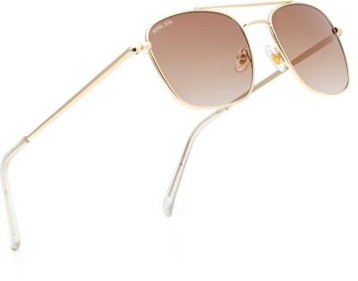 Royal Son Rectangular Sunglasses(Brown, Golden)
