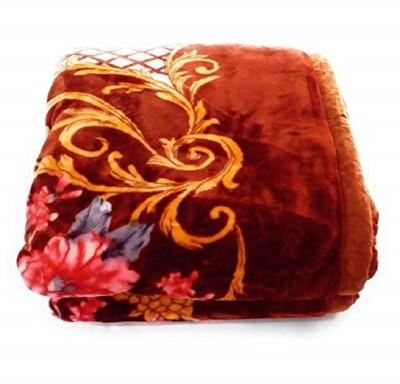 Talwar Home Decor Floral Double Mink Blanket(Microfiber, Golden Brown)