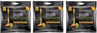 Garnier BLACK NATURALS 2.0 ORIGINAL BLACK 20ML+20G PACK OF 3 Hair Color(ORIGINAL BLACK)