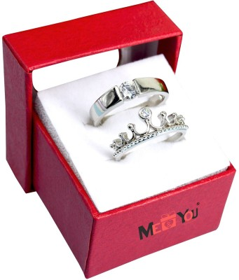 ME&YOU King and Queen Couple Rings for Every Special Occasion IZ19Ringcouple3-003 Stainless Steel Silver Plated Ring Set