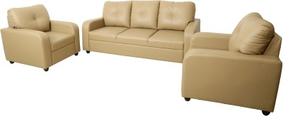 Flipkart Perfect Homes Crete Leatherette and Fabric 3 + 1 + 1 Black Sofa Set