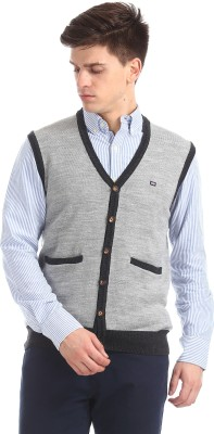 Proline Solid V neck Casual Men Grey Sweater Best Price in