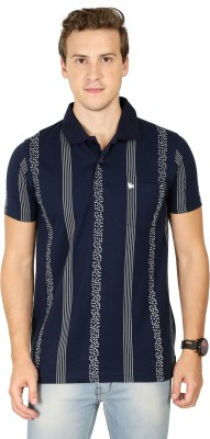 BULLMER Printed, Striped Men Polo Neck Blue T-Shirt