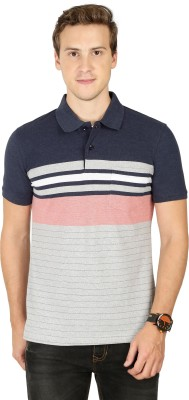 BULLMER Striped Men Polo Neck Blue T-Shirt
