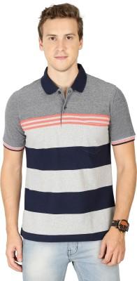 BULLMER Striped Men Polo Neck Grey T-Shirt