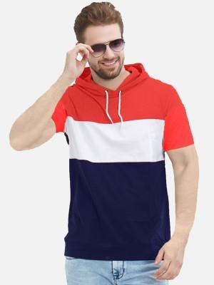 LEWEL Color Block Men Hooded Neck Red, White, Blue T-Shirt