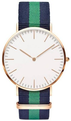 NEW CREATION WD Green Analogue White Slim Dial Luxurious Fabric Strape Fashion Mens Wrist Watch Analog Watch  - For Men