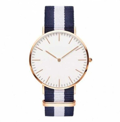 NEW CREATION WD 2Blue1White Line Analogue White Slim Dial Luxurious Fabric Strape Fashion Mens Wrist Watch Analog Watch  - For Men