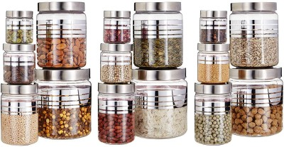GPET Silverline  - 1800 ml, 1200 ml, 500 ml, 250 ml, 100 ml Plastic Grocery Container(Pack of 15, Silver)
