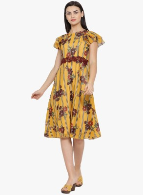 MEE FASHIONS Women Fit and Flare Yellow Dress