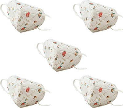 Honeywell PM 2.5 Anti Pollution Paper Foldable Face Mask, White and Red Printed (Pack of 5) RY-D7051-RS2-IND Mask