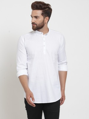 A-Okay Men Solid Straight Kurta(White)