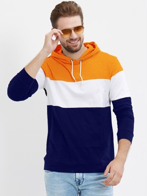 LEWEL Color Block Men Hooded Neck Orange, White, Blue T-Shirt