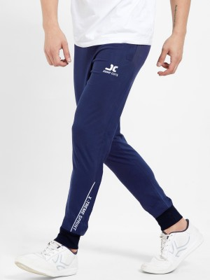 Jump Cuts Printed Men Dark Blue Track Pants