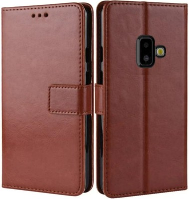 iPaky Flip Cover for Samsung Galaxy J2 2018(Brown, Maroon, Cases with Holder)