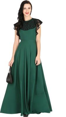 Raas Pret Women Ruffled Green, Black Dress