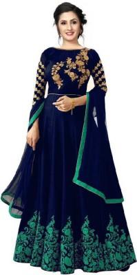 Zingat Fashion Satin Embroidered, Solid Gown/Anarkali Kurta & Bottom Material(Semi Stitched)