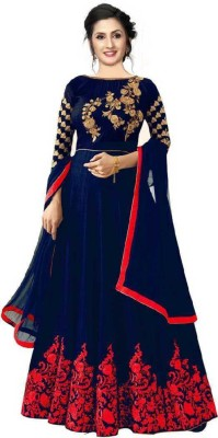 Zingat Fashion Satin Embroidered, Solid Gown/Anarkali Kurta & Bottom Material(Semi Stitched)