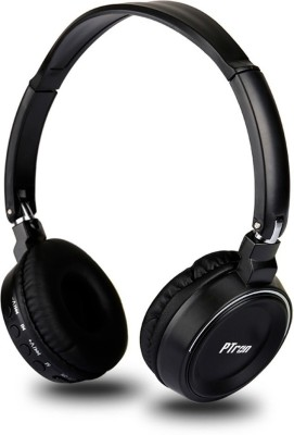 PTron Trips On Ear Bluetooth, Wired Headset with Mic(Black, On the Ear)