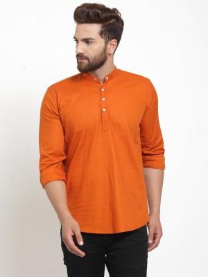 A-Okay Men Solid Straight Kurta(Orange)