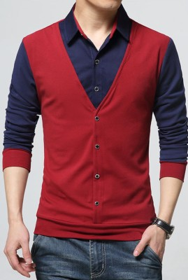 Try This Men Color Block Casual Dark Blue, Red Shirt