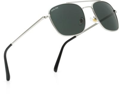 Royal Son Rectangular Sunglasses(Green, Silver)