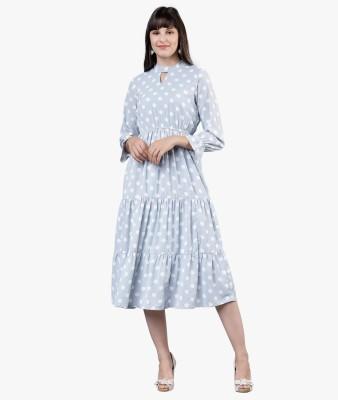 Tokyo Talkies Women Blouson Light Blue Dress