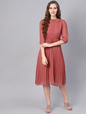 Sassafras Women Fit and Flare Pink Dress
