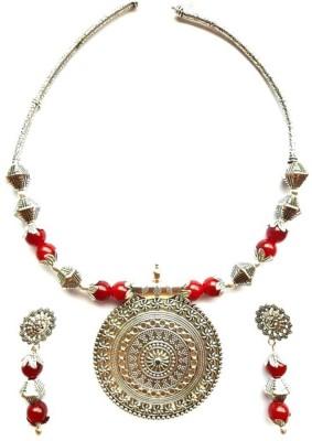 Sporsho Metal, Glass Jewel Set Silver, Red Sporsho Jewellery Sets