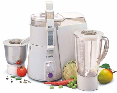 SUJATA Juicer Mixer Grinder POWERMATIC PLUS 900 Juicer Mixer Grinder(White, 2 Jars)