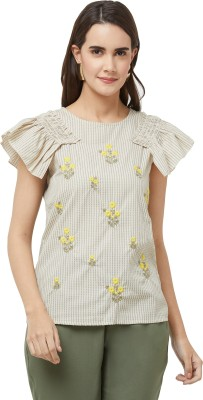109°F Casual Cap Sleeve Embroidered Women Multicolor Top