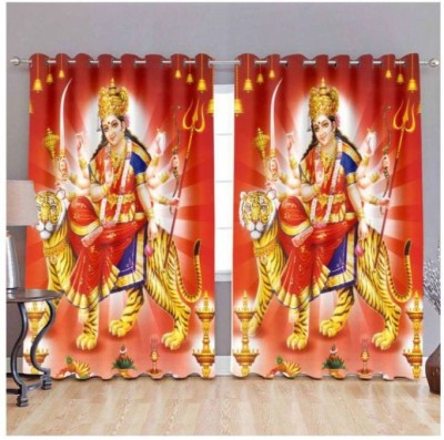 Indiancraft 214 cm (7 ft) Polyester Door Curtain (Pack Of 2)(Printed, Multicolor)