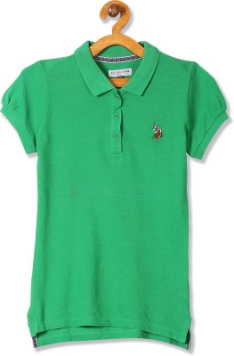 US Polo Kids Girls Solid Pure Cotton T Shirt(Green, Pack of 1)