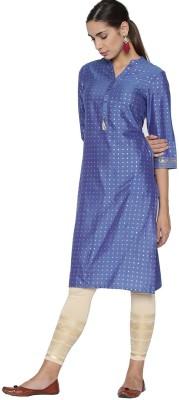 Morpankh Women Printed A-line Kurta(Blue)