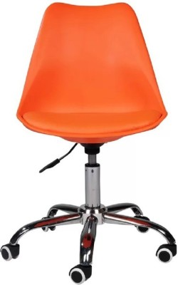 Finch Fox Height Adjustable Stylish Modern Rotary Office Chair for Salon/Spa/Bar Stool Chair Leatherette Office Executive Chair(Orange)