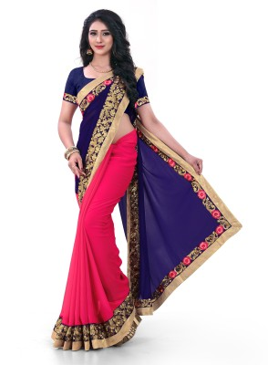 Kuki Fashion Embroidered Daily Wear Poly Georgette Saree(Blue)