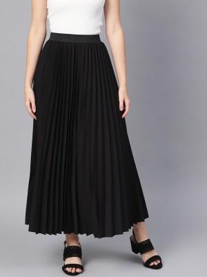 SASSAFRAS Solid Women Regular Black Skirt