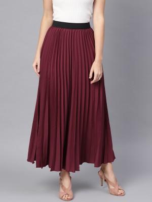 SASSAFRAS Solid Women Regular Maroon Skirt