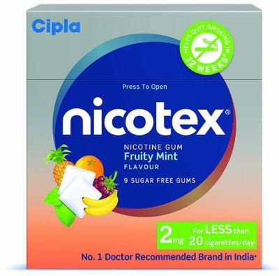 Cipla NICOTEX Nicotine Gum 2 mg (Fruity Mint, 9x10 Pieces) Pack of 10 24 hour patch Smoking Patch(Pack of 10)