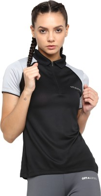 OFF LIMITS Solid Women Polo Neck Black T-Shirt