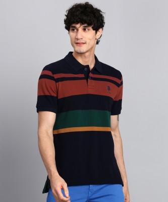 U.S. Polo Assn Color Block Men Polo Neck Dark Blue T-Shirt