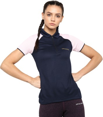 OFF LIMITS Solid Women Polo Neck Blue T-Shirt