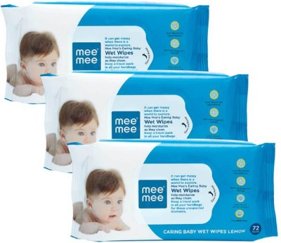 MeeMee Caring Baby Wet Wipes with Lemon   Aloe Vera Fragrance   72 pcs  Pack of 3