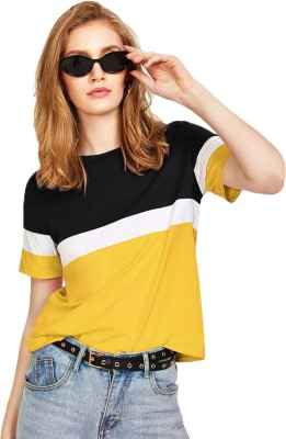 Leotude Color Block Women Round Neck White, Black, Yellow T Shirt Leotude Women's T shirts