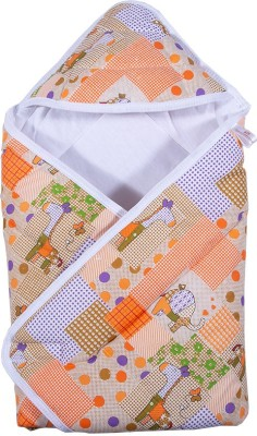 PARENTHOOD Printed Crib Hooded Baby Blanket(Poly Cotton, Peach)